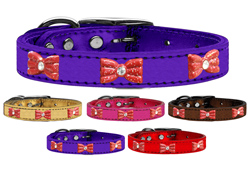 Red Glitter Bow Widget Genuine Metallic Leather Dog Collars