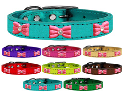 Pink Glitter Bow Widget Genuine Metallic Leather Dog Collars