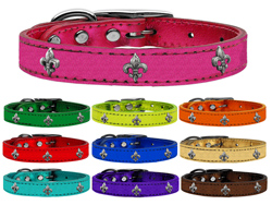 Silver Fleur De Lis Widget Genuine Metallic Leather Dog Collars