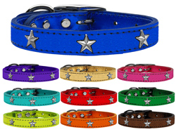Silver Star Widget Genuine Metallic Leather Dog Collars