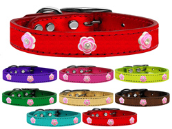 Bright Pink Rose Widget Genuine Metallic Leather Dog Collars