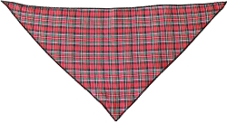 Red Plaid Tie-On Pet Bandana Size Large