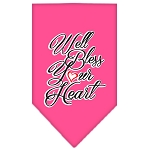 Well Bless Your Heart Screen Print Bandana Bright Pink Small