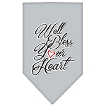 Well Bless Your Heart Screen Print Bandana Grey Small