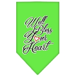 Well Bless Your Heart Screen Print Bandana Lime Green Small