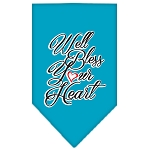 Well Bless Your Heart Screen Print Bandana Turquoise Small
