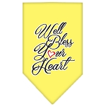 Well Bless Your Heart Screen Print Bandana Yellow Small