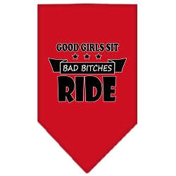 Bitches Ride Screen Print Bandana Red Large