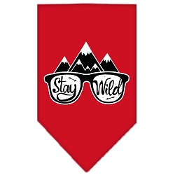 Stay Wild Screen Print Bandana Red Small