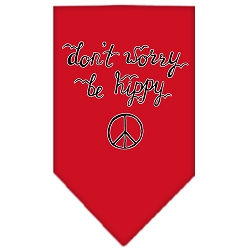 Be Hippy Screen Print Bandana Red Large