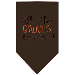 All the Ghouls Screen Print Bandana Brown Small
