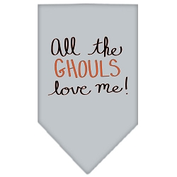 All the Ghouls Screen Print Bandana Grey Small