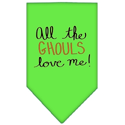 All the Ghouls Screen Print Bandana Lime Green Small