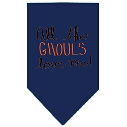 All the Ghouls Screen Print Bandana Navy Blue Small