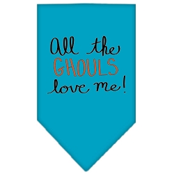All the Ghouls Screen Print Bandana Turquoise Small