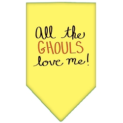 All the Ghouls Screen Print Bandana Yellow Small