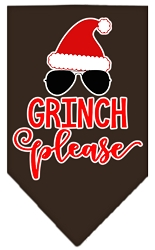 Grinch Please Screen Print Bandana Cocoa Small