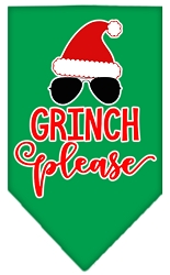Grinch Please Screen Print Bandana Emerald Green Small