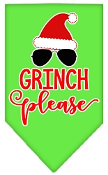 Grinch Please Screen Print Bandana Lime Green Small