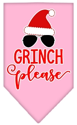 Grinch Please Screen Print Bandana Light Pink Small