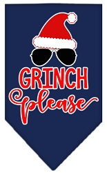 Grinch Please Screen Print Bandana Navy Blue large