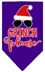 Grinch Please Screen Print Bandana Purple Small