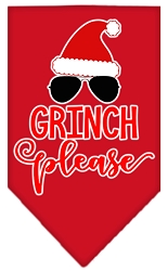 Grinch Please Screen Print Bandana Red Small