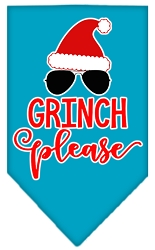 Grinch Please Screen Print Bandana Turquoise Small