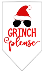 Grinch Please Screen Print Bandana White Large