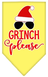 Grinch Please Screen Print Bandana Yellow Small