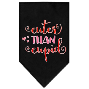 Cuter Than Cupid Screen Print Bandana Black Large