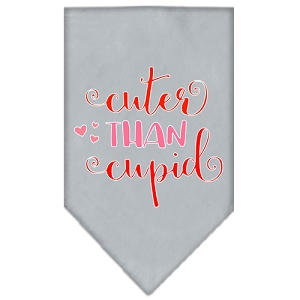 Cuter Than Cupid Screen Print Bandana Grey Small
