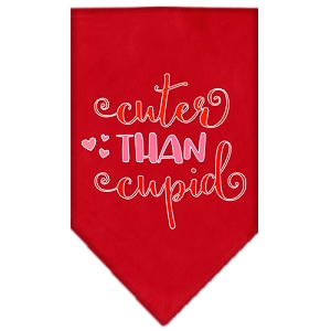 Cuter Than Cupid Screen Print Bandana Red Small