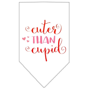 Cuter Than Cupid Screen Print Bandana White Large