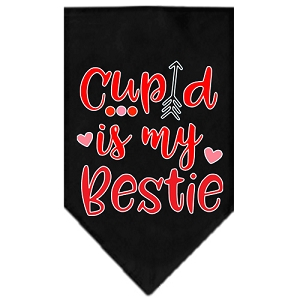 Cupid is my Bestie Screen Print Bandana Black Small