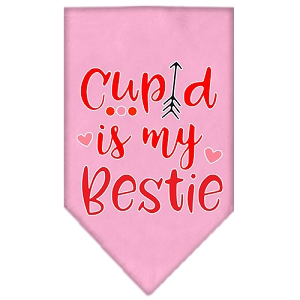 Cupid is my Bestie Screen Print Bandana Light Pink Small