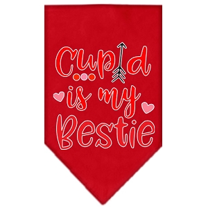 Cupid is my Bestie Screen Print Bandana Red Large