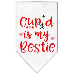 Cupid is my Bestie Screen Print Bandana White Large