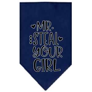 Mr. Steal Your Girl Screen Print Bandana Navy Blue Small