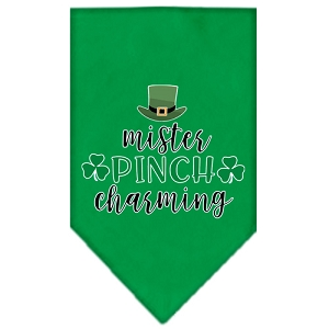 Mister Pinch Charming Screen Print Bandana Emerald Green Large
