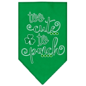 Too Cute to Pinch Screen Print Bandana Emerald Green Large