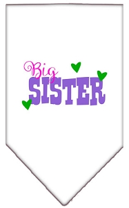 Big Sister Screen Print Bandana White Large