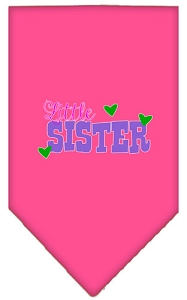 Little Sister Screen Print Bandana Bright Pink Small