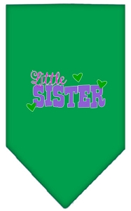 Little Sister Screen Print Bandana Emerald Green Small
