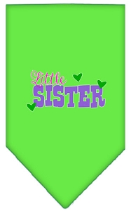Little Sister Screen Print Bandana Lime Green Small
