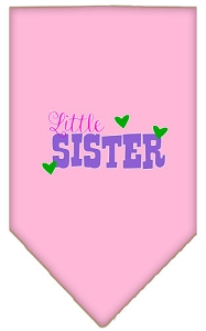 Little Sister Screen Print Bandana Light Pink Small