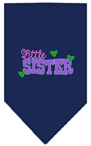 Little Sister Screen Print Bandana Navy Blue Small