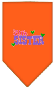 Little Sister Screen Print Bandana Orange Small