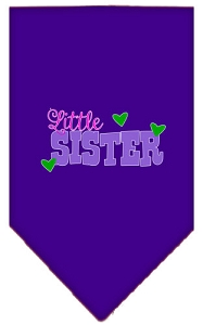 Little Sister Screen Print Bandana Purple Large