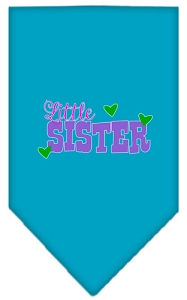 Little Sister Screen Print Bandana Turquoise Small